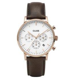 Cluse Cluse CW0101502002 40 mm chronograaf heren horloge rosé plated kast witte wijzerplaat en bruin leren band