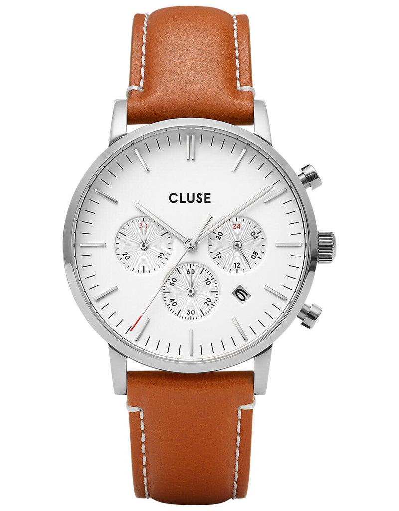 Cluse Cluse CW0101502003 40 mm heren chronograaf horloge geolijste kast witte wijzerplaat en bruin leren band