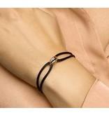 Blinckers Jewelry Huiscollectie 47.00154 BJ Armband Satijn zwart met Lucky Rings tri color