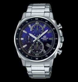 Edifice EFV-600D-2AVUEF horloge staal chronograaf met blauw/zwarte wijzerplaat  en gele accenten