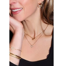 My Jewellery MJ045281500 Ketting staal kleur met open hart en steentjes