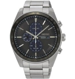 Seiko SSC715P1 Heren horloge Solar Chronograaf  staal met zwarte wijzerplaat