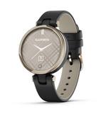 Garmin 010-02384-B1 Garmin Lily smartwatch Cream goud met zwart leren band