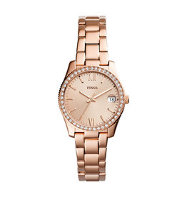 Fossil ES4318 Dames horloge staal rose goud plated met zirconia en rose wijzerplaat