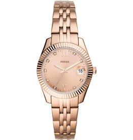 Fossil ES4898 Dames horloge staal met rose gouden plating en rosé wijzerplaat met zirconia