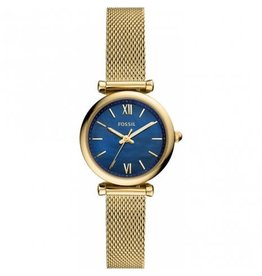 Fossil ES5020 Dames horloge staal geel goud plated met MOP blauwe wijzerplaat
