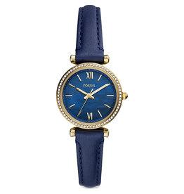 Fossil ES5017 Dames horloge staal  goldplated met MOP blauwe wijzerplaat en leren band