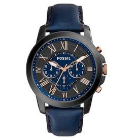 Fossil FS5061IE Heren horloge staal zwart plated met zwarte wijzerplaat en rosé accenten