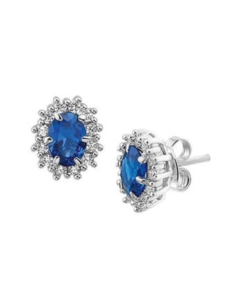 Blinckers Jewelry Huiscollectie 13.26128 Oorknoppen Zirkonia en Synthetische Saffier