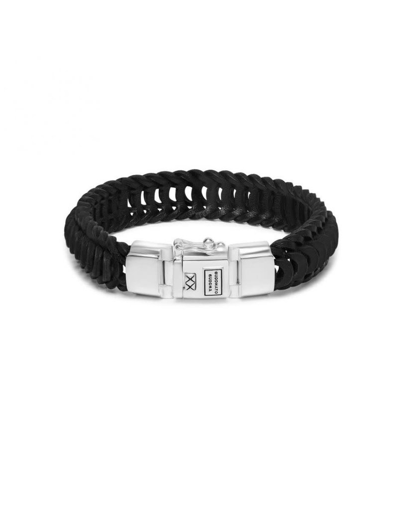 Buddha to Buddha BtoB 122BL F Armband Lars Leer zwart maat F