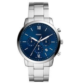 Fossil FS5792 horloge chronograaf staal met blauwe wijzerplaat en stalen band