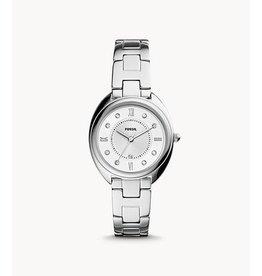 Fossil ES5069 Dames horloge 3 hands staal met zilveren wijzerplaat met zirconia en stalen band