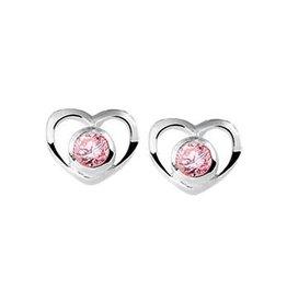 Blinckers Jewelry Huiscollectie 13.22488 oorbellen hartje met rose zirkonia