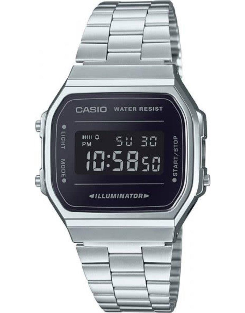 Casio A168WEM-1EF Digitaal horloge staal met zwarte wijzerplaat