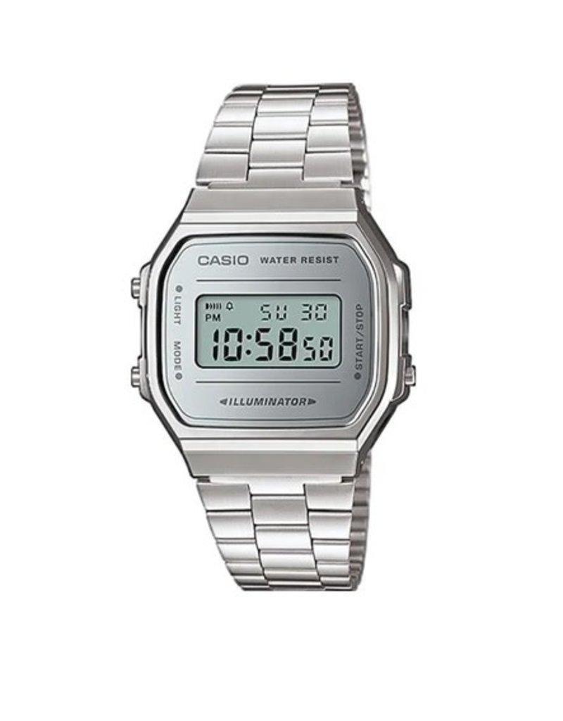 Casio A168WEM-7EF Casio digitaal horloge staal met grijze wijzerplaat