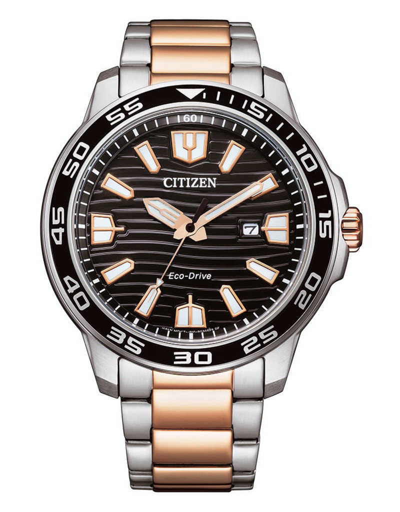 Citizen AW1524-84E Heren horloge staal Bi-color ecodrive met zwarte wijzerplaaat