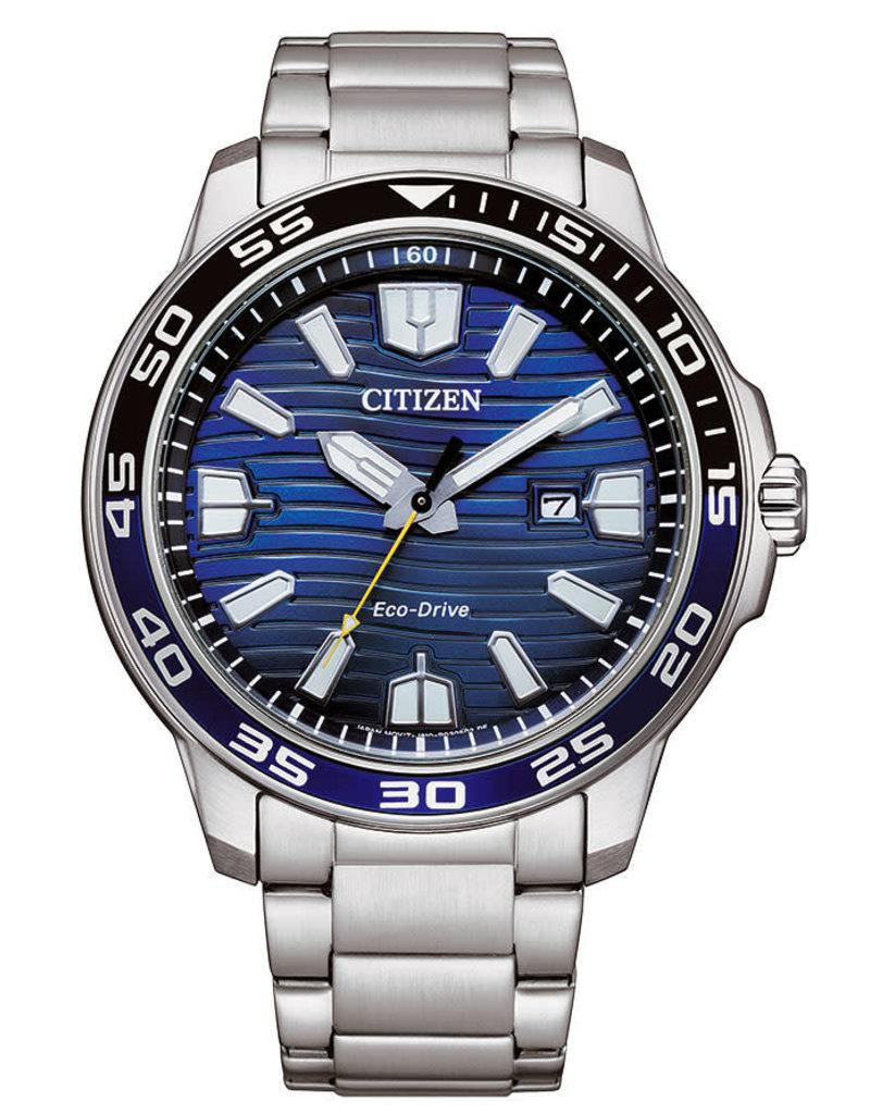 Citizen AW1525-81L Stalen heren horloge Eco Drive met blauwe wijzerplaat