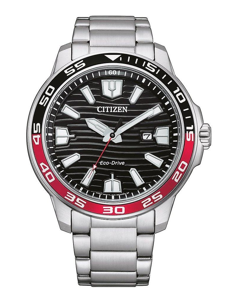 Citizen AW1527-86E Stalen heren horloge ecodrive met zwarte wijzerplaat
