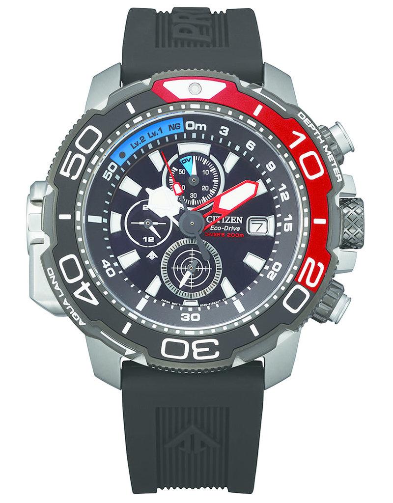 Citizen BJ2167-03E Stalen heren duik horloge Promaster met zwarte wijzerplaat en rubber band
