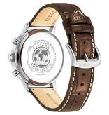 Citizen CA7061-26X Stalen heren horloge Classic vintage wijzerplaat en croco leren band