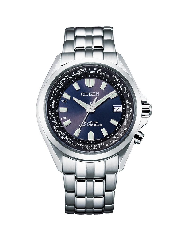 Citizen CB2020-85L Stalen heren horloge worldtimer met stalen band