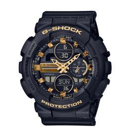 Casio GMA-S140M-1AER  G-shock horloge zwart 3 hands / digitaal met gouden accenten