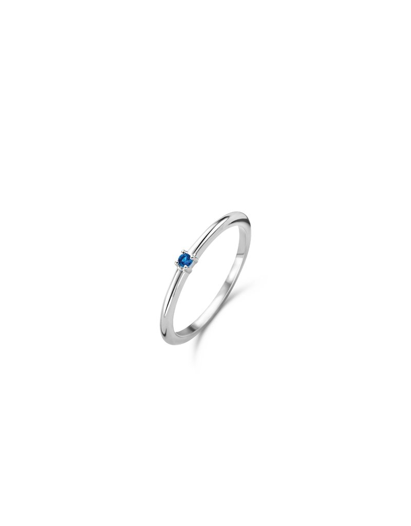 Ti Sento Milano 12210DB/52 Ring zilver met blauwe steen