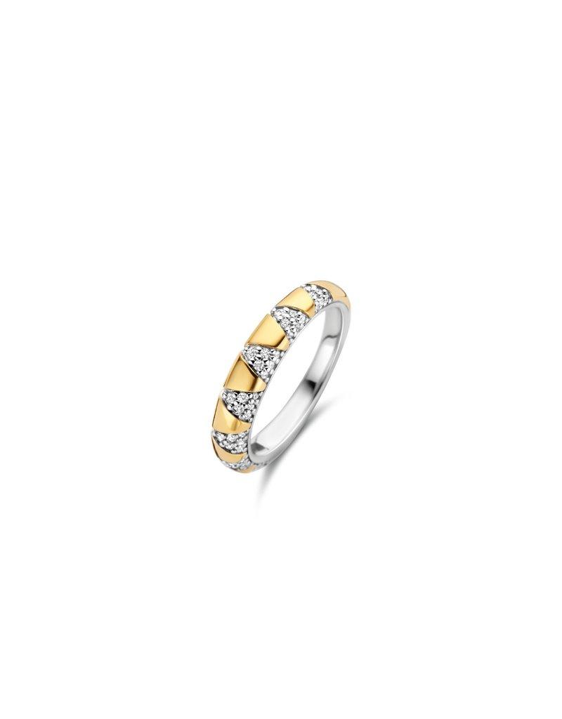 Ti Sento Milano 12216ZY/56  Ring zilver bi-color met zirconia