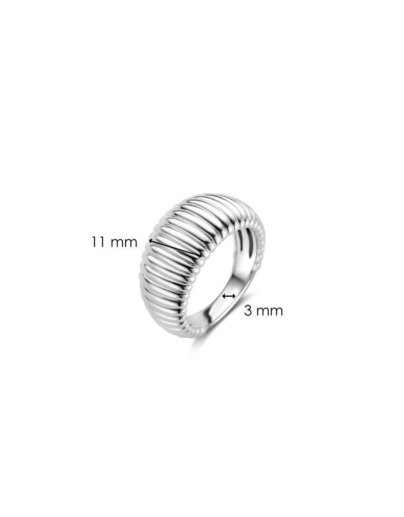 Ti Sento Milano 12217SI/56 Ring zilver ribbel koepelvormig