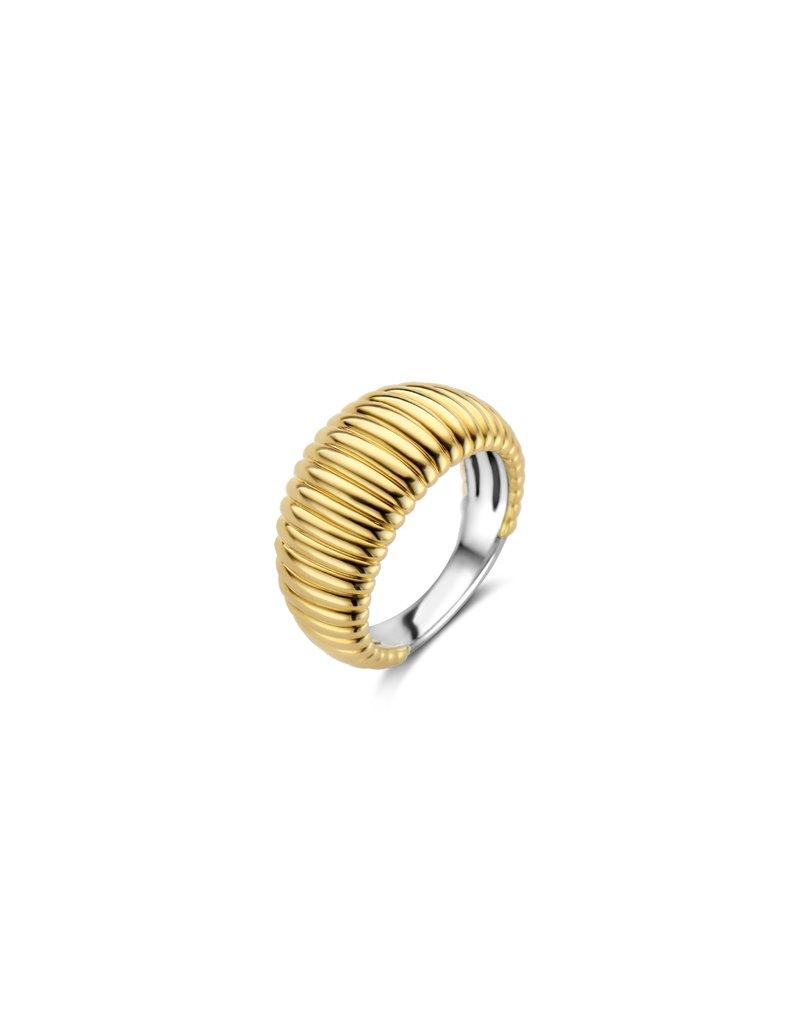 Ti Sento Milano 12217SY/54 Ring koepelvormige ribbel geelgoud plated