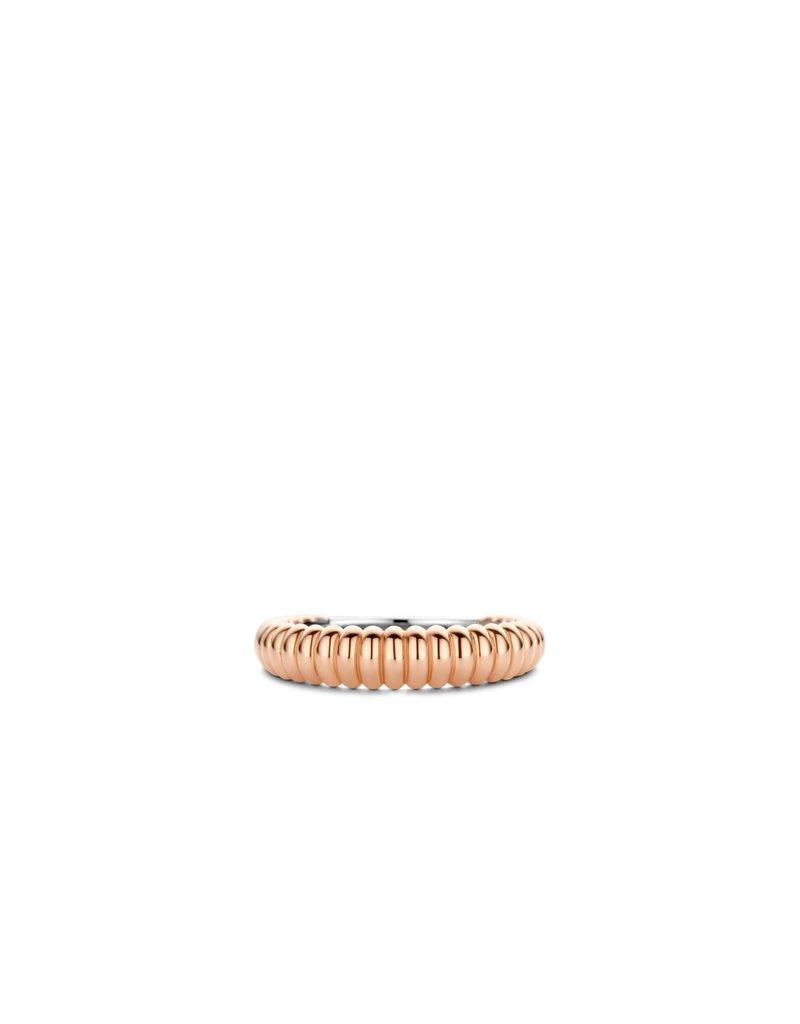 Ti Sento Milano 12218SR/54 Ring  zilver rosé plated met ribbels