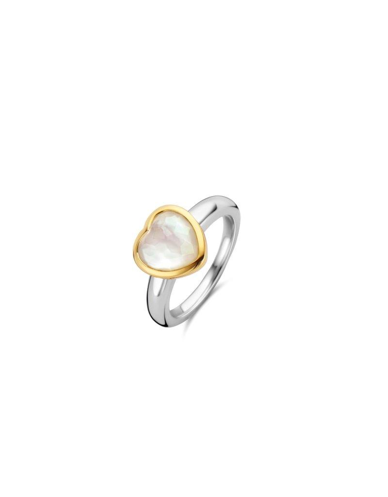 Ti Sento Milano 12219MW/54 Ring zilver met ingelegd mother of pearl hart in geelgouden zetting