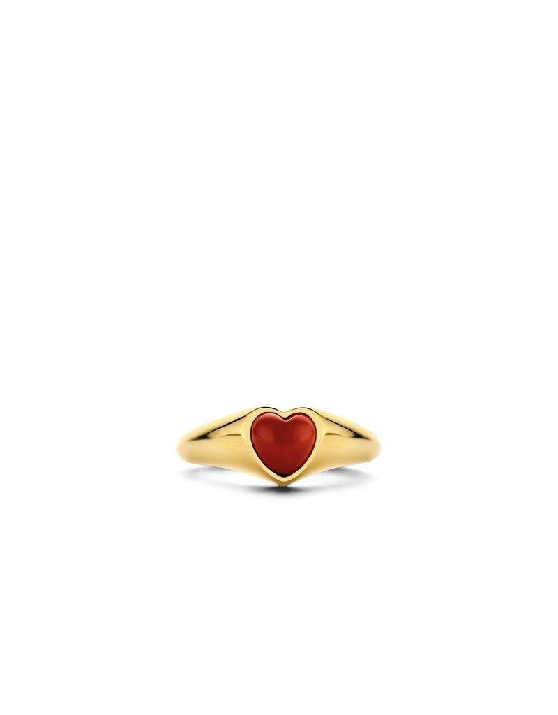 Ti Sento Milano 12220CR/56 Ring zilver goldplated met rode koraal hart