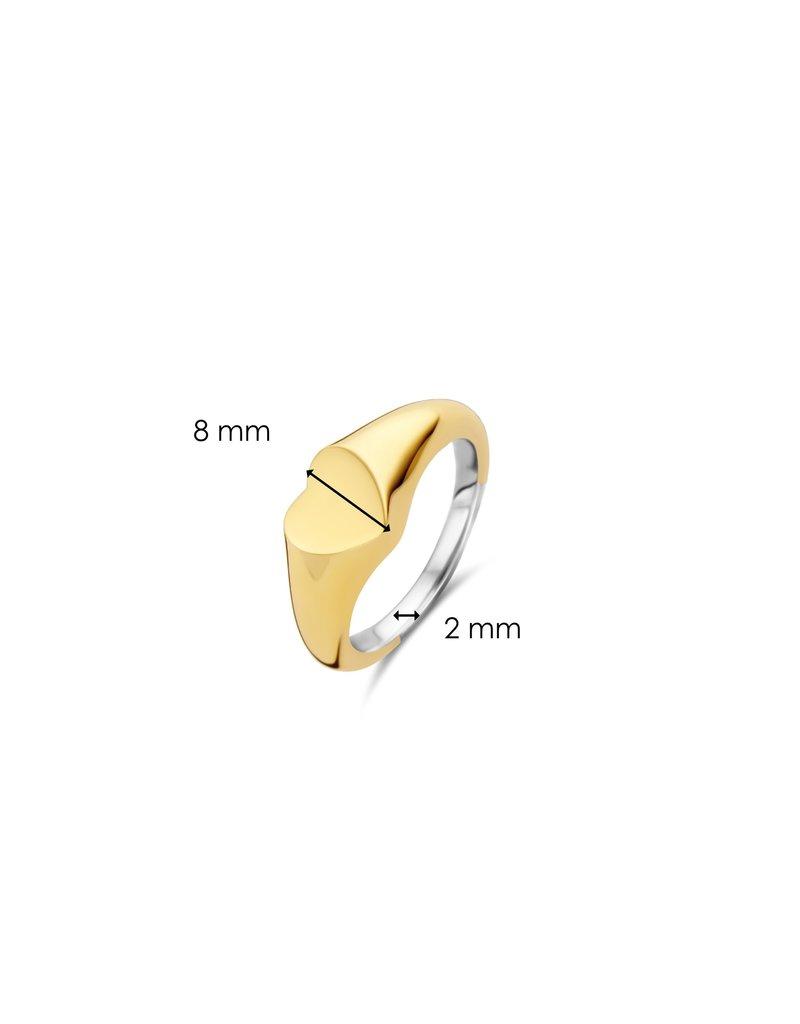 12221SY/52  Ring zilver geel goud plated vlak hart  met ruimte voor gravure