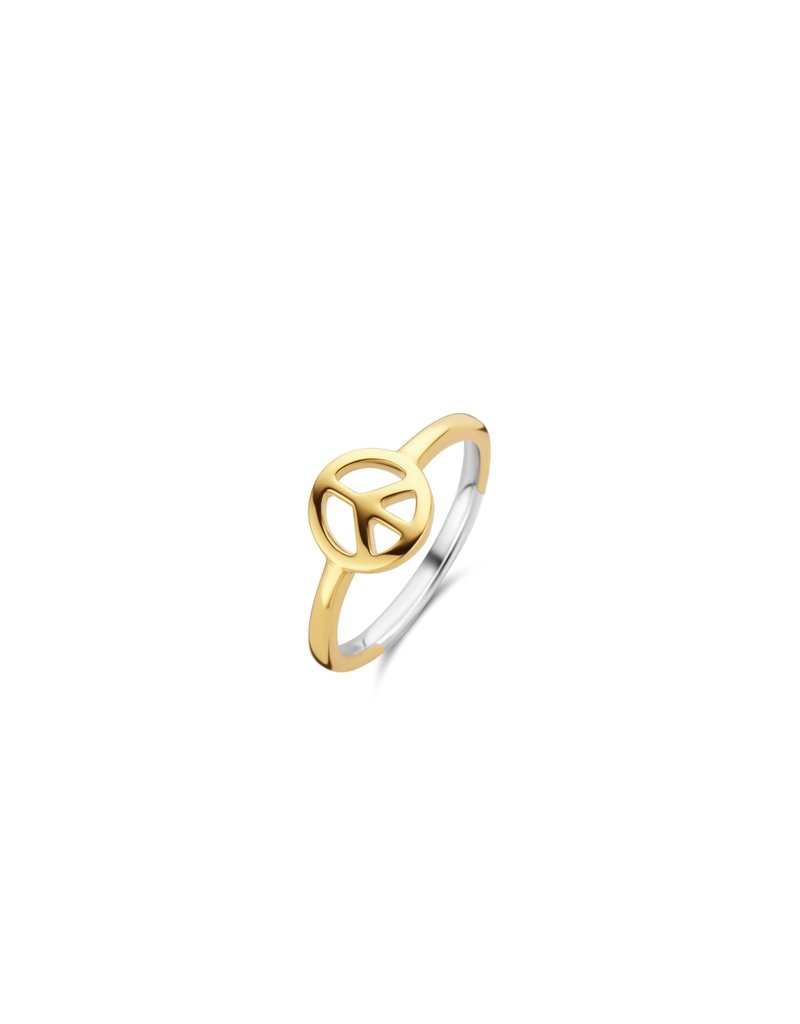 Ti Sento Milano 12222SY/54 Ring zilver goldplated met peace logo