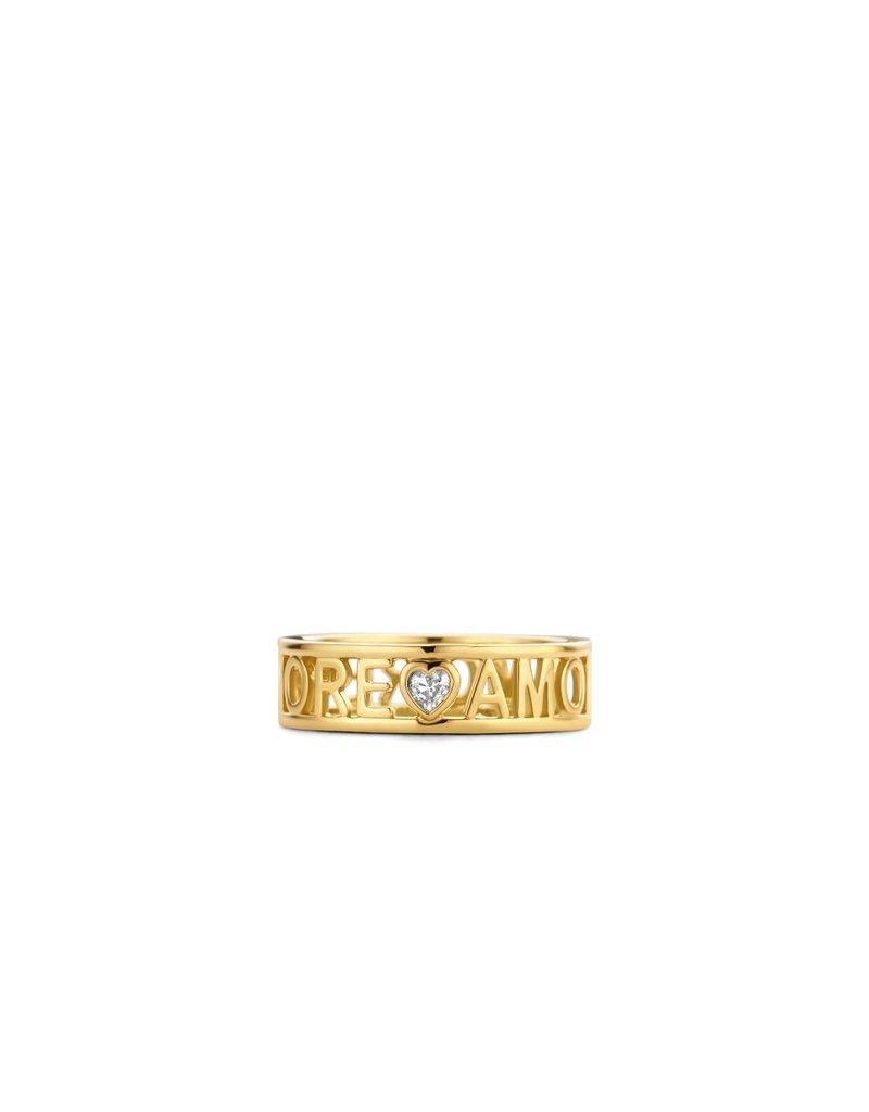 Ti Sento Milano 12227ZY/54 Ring zilver goldplated Amour en zirconia hart