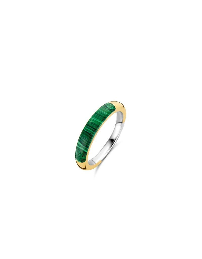 Ti Sento Milano 12230MA/54 Ring zilver goldplated met malachiet
