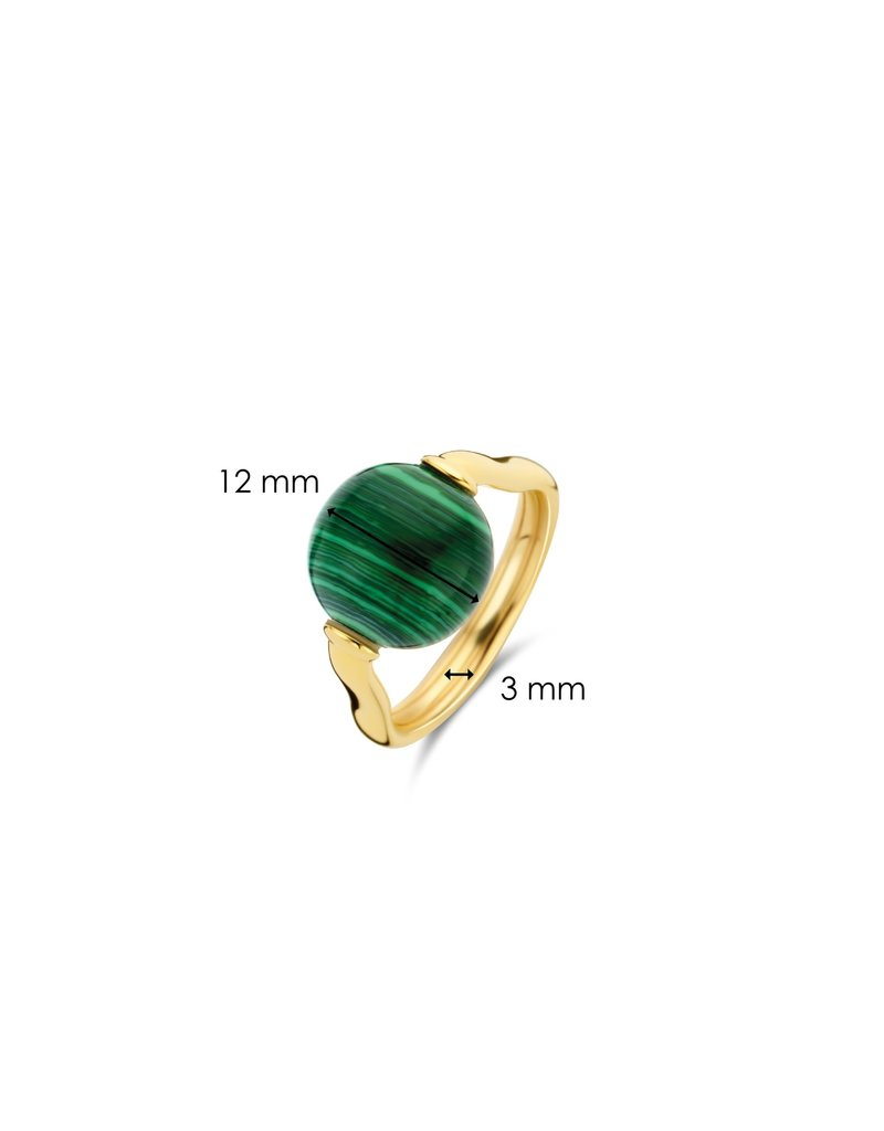Ti Sento Milano 12231MA/54Ring zilver geelgoud plated met ronde malachiet steen