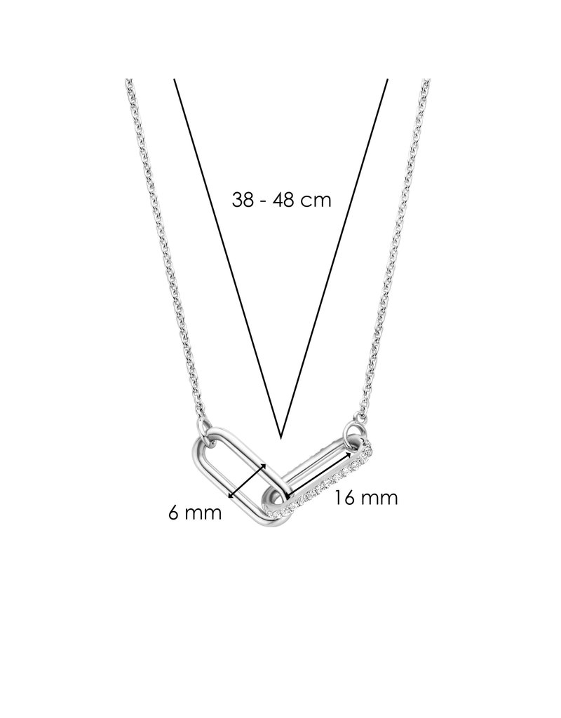 Ti Sento Milano 3966ZI/42 Collier zilver met closed forever element met zirconia