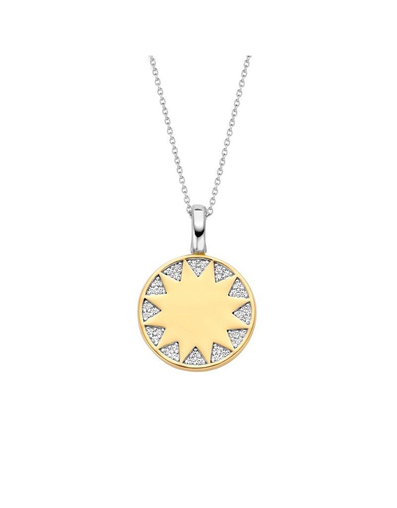 Ti Sento Milano 6796ZY Collier met hanger zilver gold plated met zon en zorconia