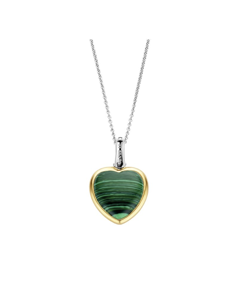 Ti Sento Milano 6800MA Collier zilver met hartvormige bedel en malachiet hart