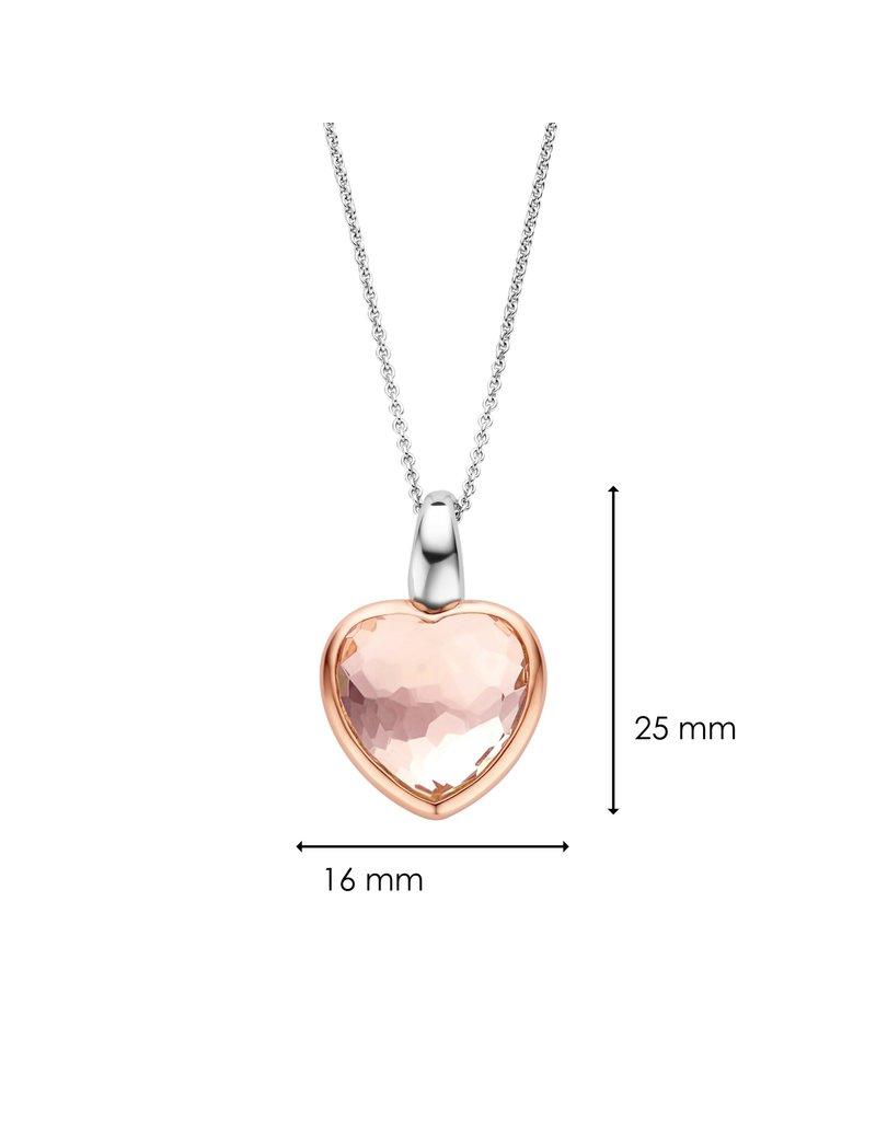 Ti Sento Milano 6800NU Collier zilver met hanger in rosplated met roze geslpen steen