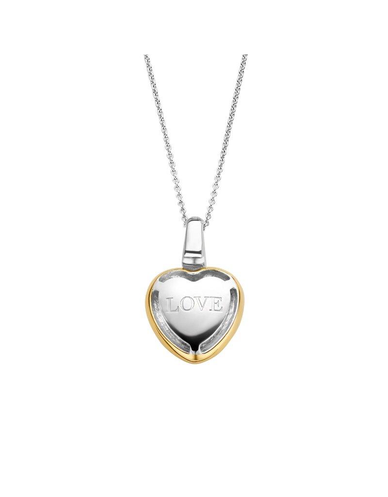 Ti Sento Milano 6801ZY Collier met hanger hart  in geelgouden huls vol zirconia