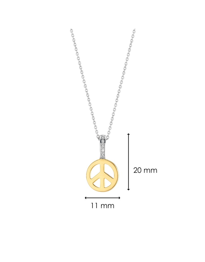 Ti Sento Milano 6803SY Collier zilver met hanger peace in geelgoud  plated