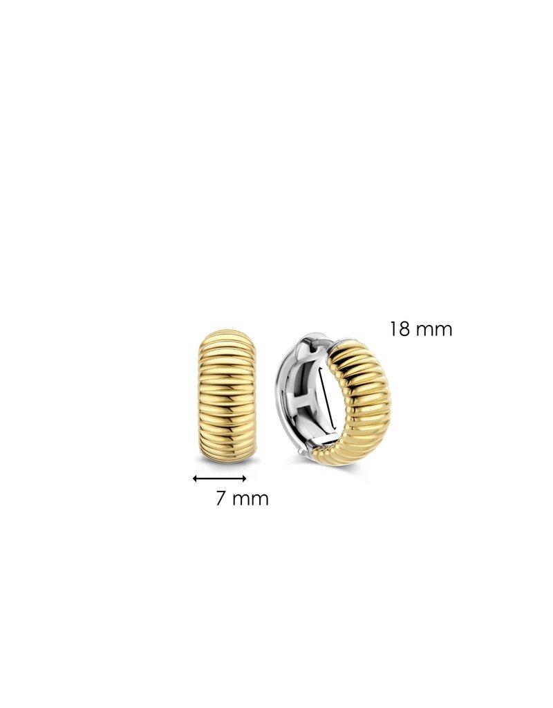 Ti Sento Milano 7840SY Klapcreolen breed ribbel  in zilver met geelgouden plating