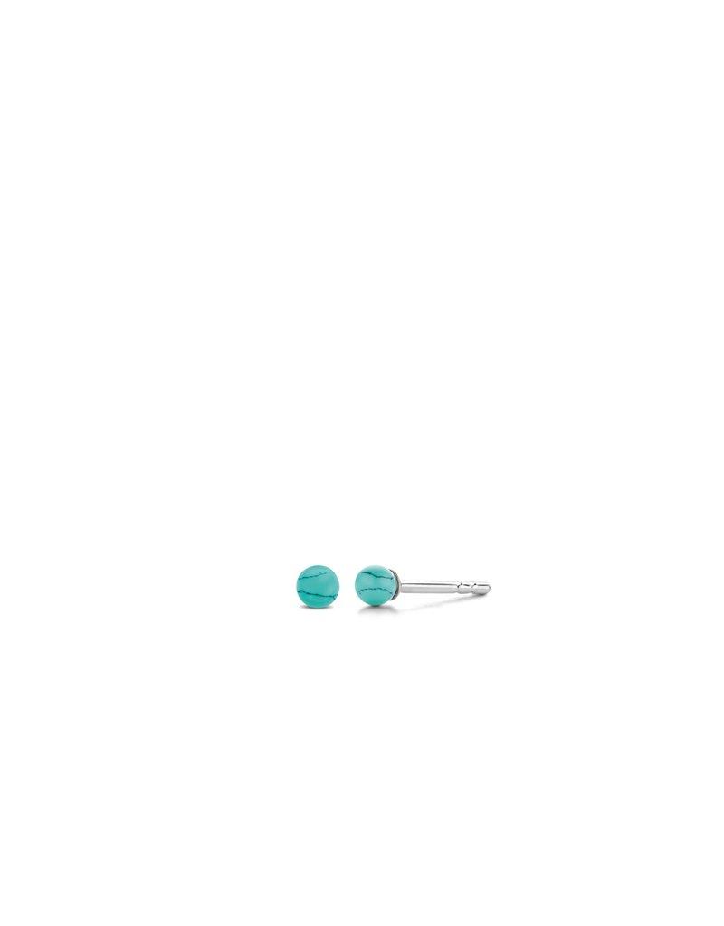 Ti Sento Milano 7841TQ Oorstekers in zilver met Turquoise ronde steentjes
