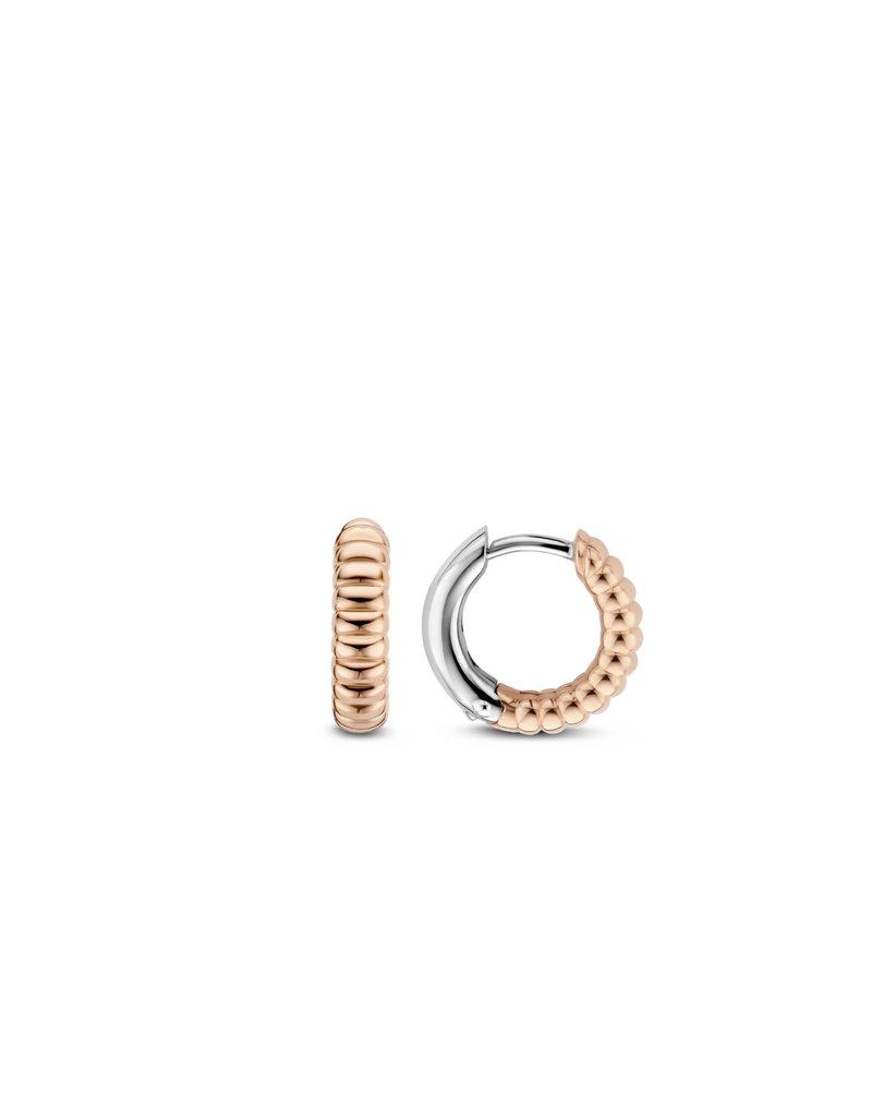 Ti Sento Milano 7839SR Creolen zilver rosé goud verguld met ribbel