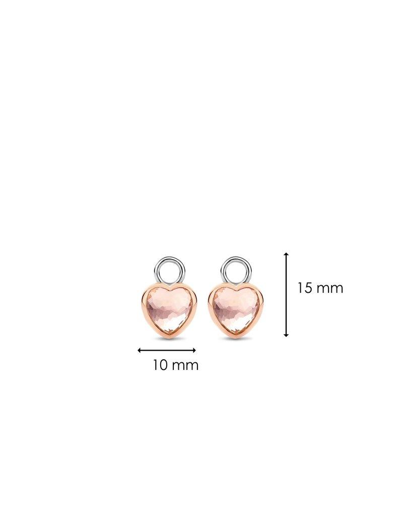 Ti Sento Milano 9231NU Oorbedel zilver rosé verguld met roze hart