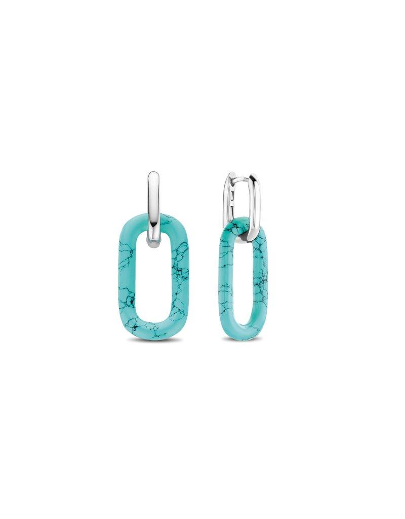7843TQ Klap creolen zilver met Turquoise link