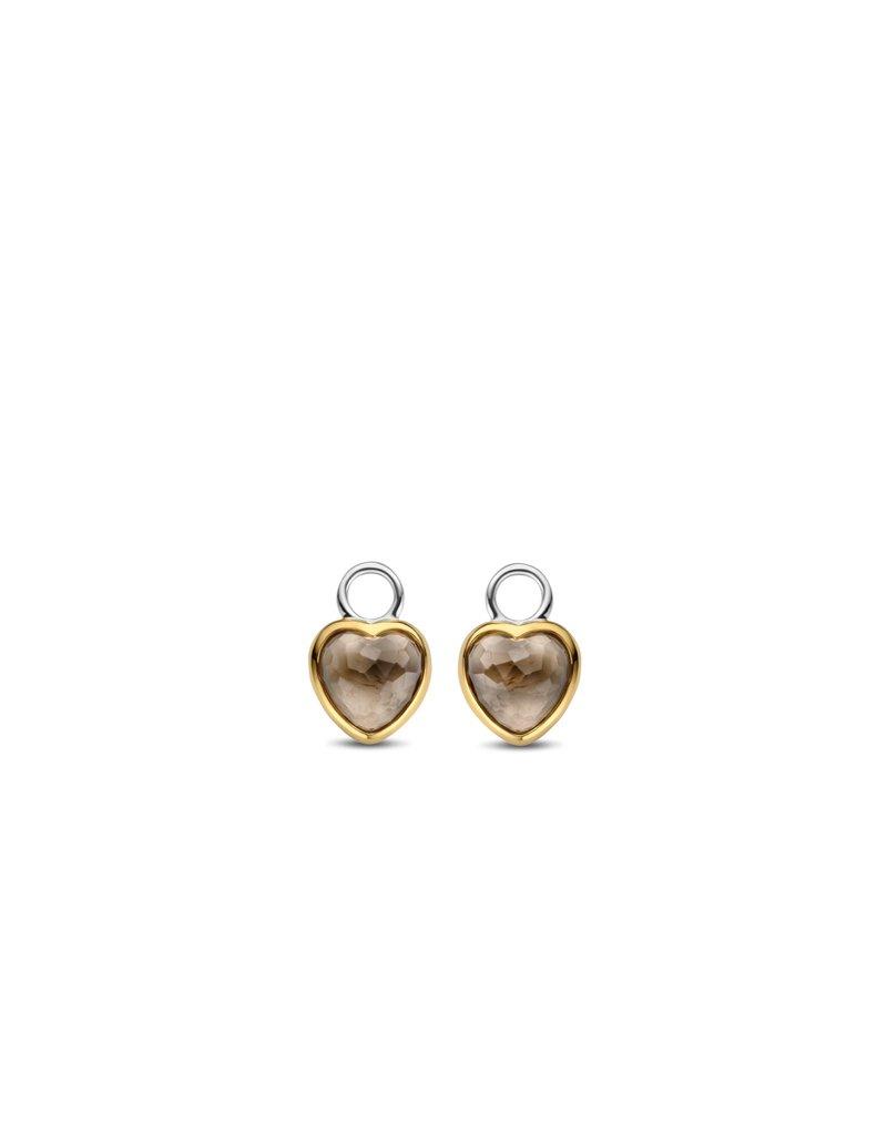 Ti Sento Milano 9231TT Oorbedels zilver / verguld met bruin geslepen hart